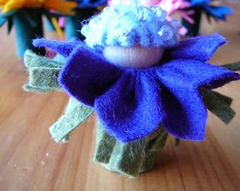 Small Purple-Blue Flower Fairy, Waldorf Inspired, Wool Felt Peg Doll Fairy
