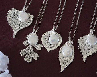 Bridesmaid Necklace Gift, Leaf Necklaces, Pearl, Bridesmaid Necklaces, Silver Leaf, Real Leaf Necklace, Pendant, Bridal Gift