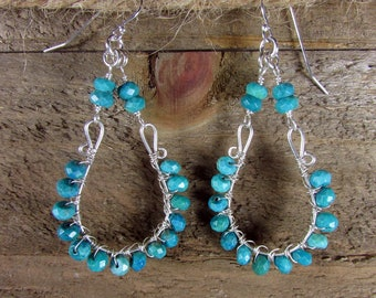 Turquoise Chandelier Earrings, Sterling Silver & Green Turquoise, Statement Jewelry, Wire Wrapped Turquoise