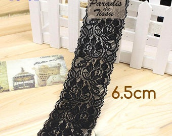 5 meters wide tape lace Black 6.5 cm elastic B5-01