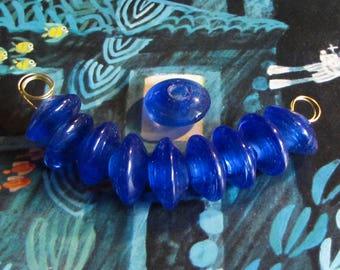 10 pcs. Glass bead lens dark blue transparent 16 mm