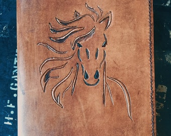 Leather Hand Carved Horse Journal Book Cover