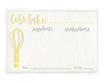 Let's Bake Letterpress Recipe Cards - set of ten