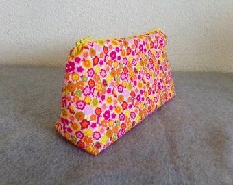 Cosmetic Bag - Red Flowered