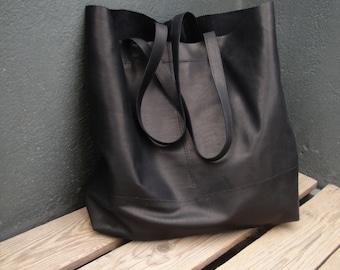 Black leather handmade tote