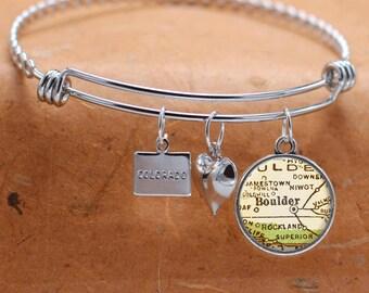 Custom Map Charm Bracelet Boulder Colorado State of CO Bangle Cuff Bracelet Vintage Map Jewelry Stainless Steel Bracelet