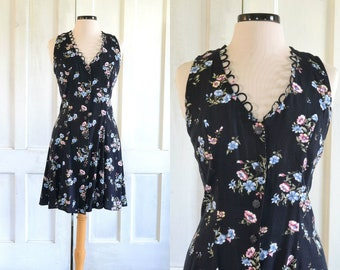 90s Grunge Sundress Mini Dress Corset Back Ditsy Black Floral Dress - large