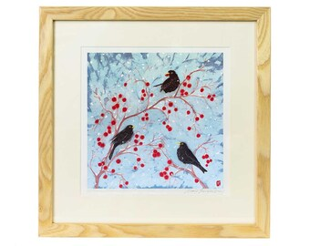 Blackbirds on Crabapples Giclee Print - Limited edition print of batik, bird print, blackbird print, bird lover gift, garden bird art print