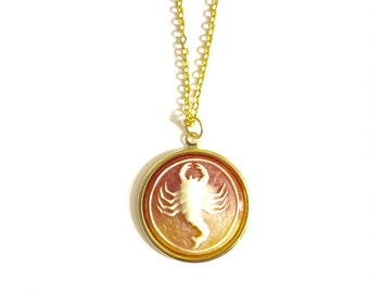 Scorpio Astrology Necklace, Astrology Necklace, Vintage Astrology Cameo Necklace