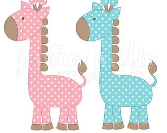 Polka Dot Giraffe Cute Digital Clipart, Cute Giraffe Clip art, Baby Giraffe Graphics, Pink and Blue Baby Giraffe Illustration, #115
