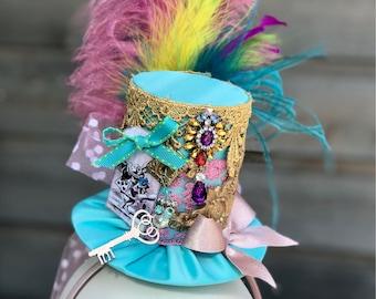 Derby Hat, Mad Hatter Hat, Alice in Wonderland, Steampunk Hat, Top Hat, Victorian Hat, Mini Top Hat, Tea Party Hat, Fascinator Hat, Cosplay.