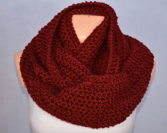 Crochet Infinity Scarf Cowl Neck Warmer Burgundy Choose Your Color