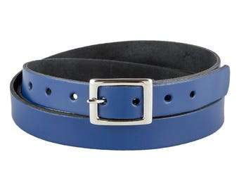 "Leather Belt Handmade Bright Royal Blue 3/4"" // Ladies 20mm Real Leather Skinny Belt"