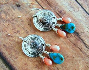 Turquoise and Coral Earrings, Chandelier Earrings, Southwest Earrings, Western Earrings, Country Western, Turquoise Jewelry, Coral Earrings