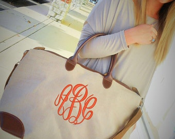 MONOGRAMMED Jute Weekender Bag (Font Shown: Master Circle in Deep Coral)