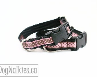 "Chocolate or Pink Dots Dog Collar // 3/4"" (19mm) Wide // Choice of pattern, style and size // Martingale or Quick Side Release // Polka Dots"