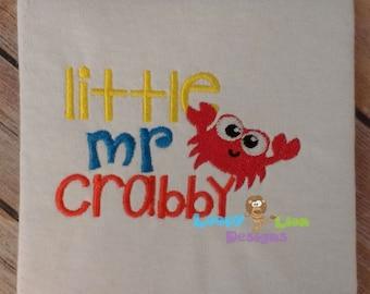 Little Mr Crabby 4x4 fill 5x7 applique