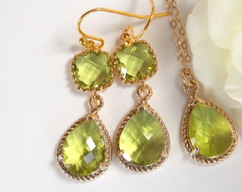 Bridesmaid Jewelry Set, Apple Green Earrings and Necklace Set, Peridot, Green Apple, Green, Gold Filled, Wedding Set, Dangle, Pendant Set