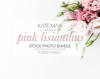 Pink Flower Stock Photo Bundle / Styled Stock Photos / 11 KateMaxStock Flower Branding Images for Your Business