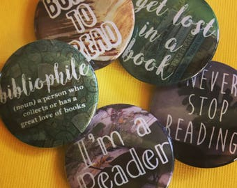 Bibliophile Pinback Button Set, Backpack Pins, Book Pins, Discount Bulk Badges Pins Boho Buttons, Writer Pins, Artist Buttons, Author Pins