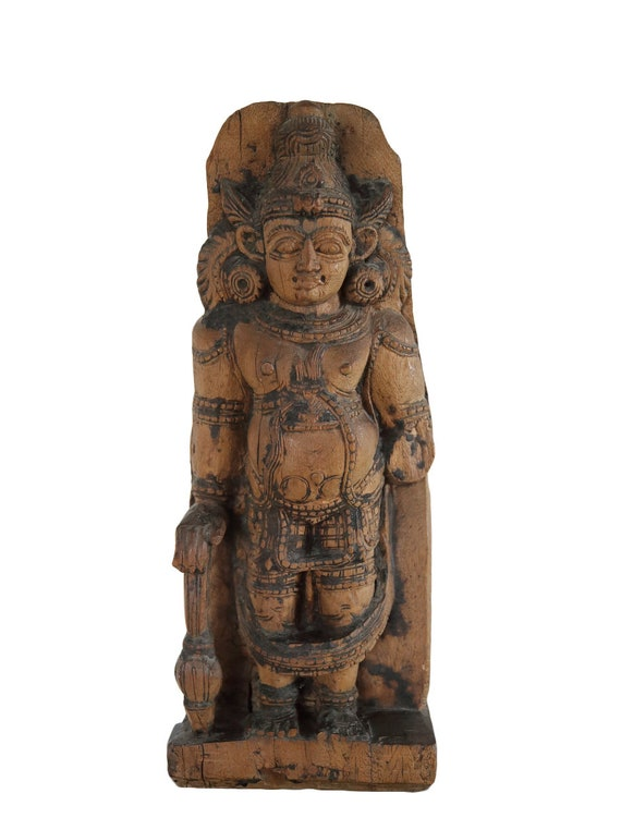 Bhairava wooden temple ornament - India -  19/20th c