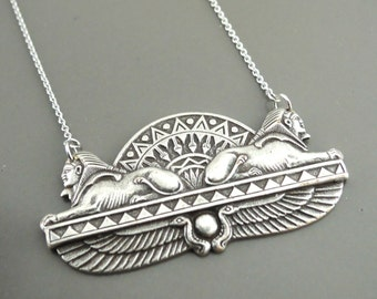 Vintage Necklace - Egyptian Necklace - Art Deco Necklace - Silver Necklace - handmade jewelry