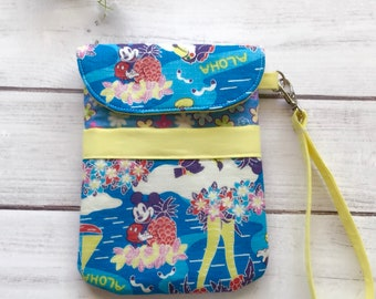 Mickey Mouse tropical wristlet, cellphone pouch, travel bag, gadget pouch, eco friendly