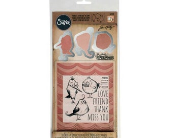 Tim Holtz Alterations by Sizzix Framelits & Texture Fades with Stamps 561218 ~ Bird Talk ~