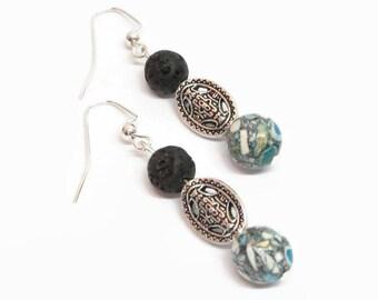 Turquoise Diffuser Earrings, Turquoise and Black Lava Rock Earrings, Boho Aromatherapy Earrings, Essential Oil Earrings, Bohemian Style