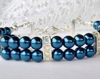 Kobaltblau-Doppelstrang Perlen-Armband / Brautjungfer Armband / Geschenk für sie verstellbare Armband / Freundin Geschenk / Geburtstagsgeschenk