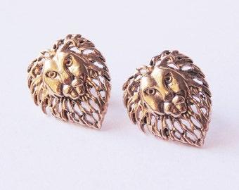 Gold lion earrings Lion stud earrings Lion earrings Lion jewelry Lion studs Gold lion studs Vintage lion earrings Stud earrings Post earring