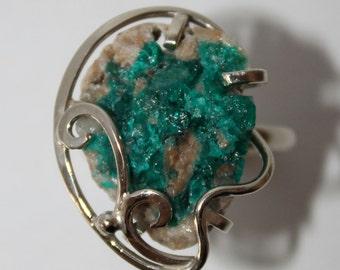 Dioptase Ring, Ashirite ring, 10 size,  FREE SHIPPING