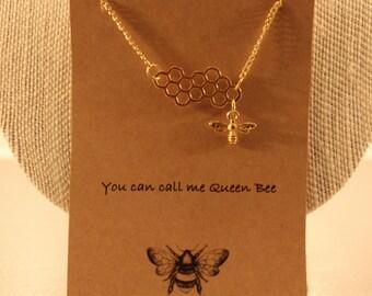 Bee Necklace: Queen Bee Wish Necklace, Bee Hive, Bee Comb, Bee Necklace, Bee Jewelry, Friendship Necklace, Best Friends, Bridesmaid
