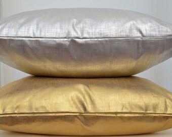 Metallic Pillow Cover, Linen Pillow Cover,Gold Pillow Cover, Gold Cushion Cover