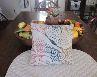 Primitive Antique Coverlet Pillow Red, Blue, Mustard, Cream