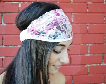 Turban Headband, Lace Headband, White Headband, Wide Headband, Bohemian Headband, Yoga Headband, Wide Bandana, Summer Headband, Boho Turban