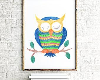 Owl painting, owl nursery decor, owl wall art, owl art print, nursery wall art, baby boy nursery painting, nursery wall decor, animal print