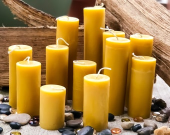 "100% Pure beeswax candle-scented or unscented-pillar candles-beeswax candles-2"" diameter pure beeswax candle-beeswax pillar candle. 3""-15"""