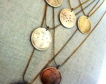 Constellation Necklace - What's Your Zodiac Sign - Antiqued Brass Jewelry by E. Ria Designs Jewelry