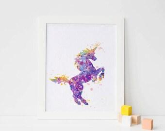 Unicorn print, unicorn Watercolor unicorn wall art Print, unicorn Room Decor, unicorn Nursery unicorn poster, Purple unicorn printable art