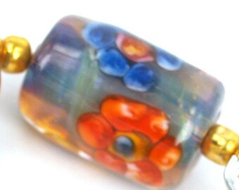 Lampwork glass beads Flowers Lampwork beads (5) From Pearlykarpel, jewelry supplies, handmade lampwork, beads