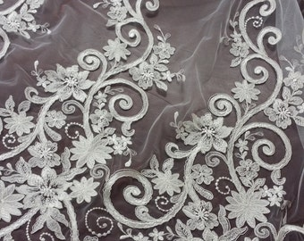 Ivory lace fabric, Embroidered lace, French Lace, Wedding Lace, Bridal lace, White Lace, Veil lace, Lingerie Lace, Alencon Lace KDA1001