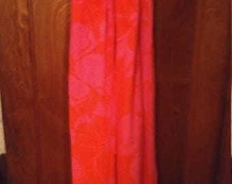 Vintage neon Hawaiian halter maxi dress FUMI's at WAIKIKI 60s pink