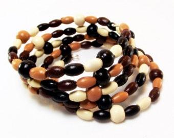 Bracelet - Light and Lovely Wood Beaded Memory Wire Bracelet