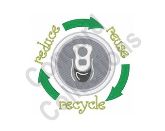 Recycle - Machine Embroidery Design, Reduce Reuse Recycle