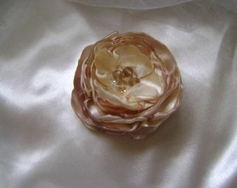 Latte or Aqua - Silky Jewelled Organza Bridal Hair Flower - Custom Color Choice Also Available