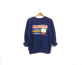 Vintage Competition 88 Sweatshirt Grunge Blue Sweater Hipster Novelty Top Tomboy Sweatshirt Size Medium Large