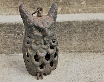 Cast Iron Owl Lantern - Mid Century Owl Candle Holder - Hanging Owl Lantern - Cast Iron Owl Porch Decor