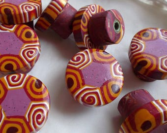 Closet purple buttons, yellow ochre and Burgundy polymer clay
