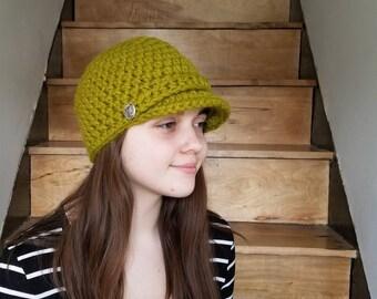 Newsboy Cap / Handmade / Hat with visor / hat with brim / warm winter hat / ready to ship / Wool / Acrylic / Green / Grass Green/ Neon Green